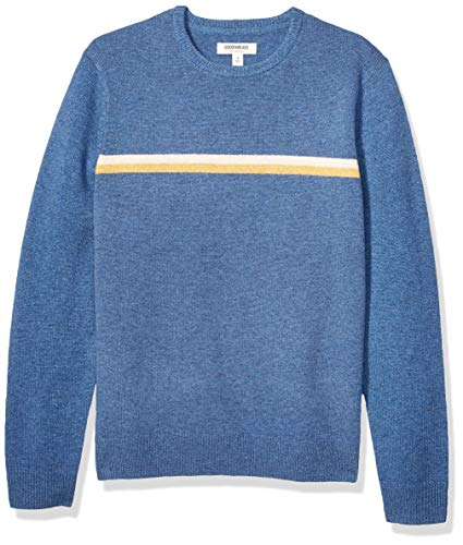 Amazon Brand - Goodthreads Men's Lambswool Stripe Crewneck Sweater, Denim Blue Yellow Chest, X-Large