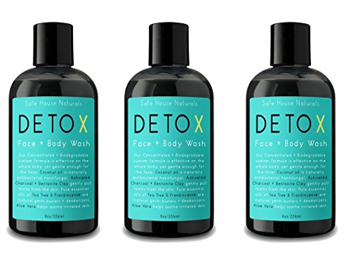 Safe House Naturals Detox Face and Body Wash (3 Pack) Skin Clearing Cleanser, Activated Charcoal + Organic Aloe for Congested Skin, Tea Tree + Clary Sage Fights Acne, Non Oily, For Men + Women
