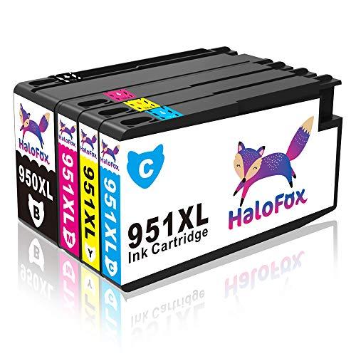 HaloFox 4 Cartouches d'encre 950XL 951XL Compatible pour HP Officejet Pro 8610 8620 8600 Plus 8630 8615 e-ALL-in-One imprimante 8100 ePrinter 251dw 271dw 276dw Multifunction