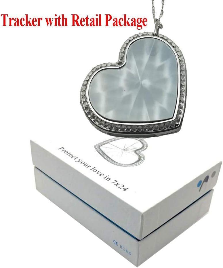 ZANGAO Moda Personal Kids gsm GPS Tracker Lovely Heart Shape Collar Dispositivo de Alarma de Seguimiento en Tiempo Real for Novia Mom Ancianos (Color : Sliver with Box)