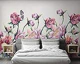 Tridimensionnel personnalisé fond d'écran 3d nordique moderne petites roses fraîches papillon mur fond TV 400×280cm