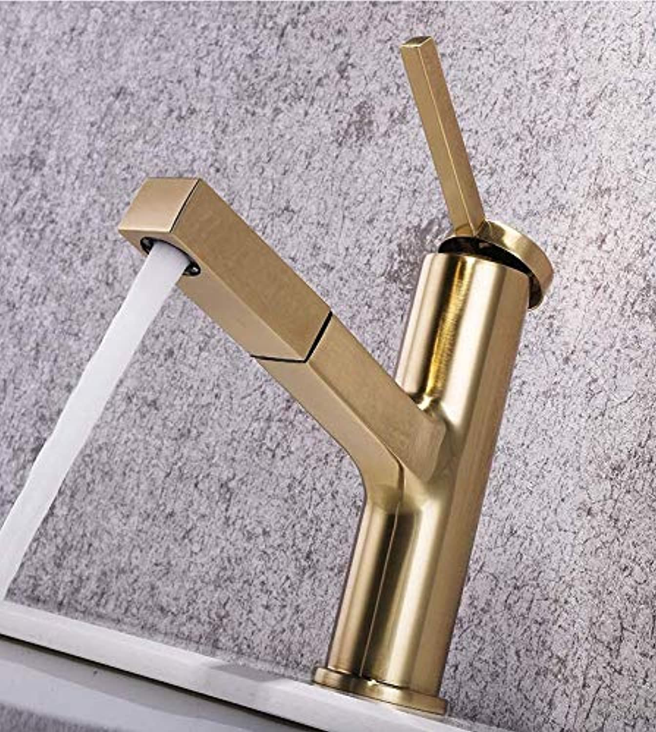 Faucet Nordic All-Copper gold Pull-Out Antique redating Basin Faucet, Short