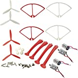 Upgraded Spare Parts for Syma X8C X8G X8W X8HC X8HW RC Quadcopter Motors Three Bladed Propellers Propeller Protectors Blades Frame Landing Skids Included Mounting Screws Set (White-Red)