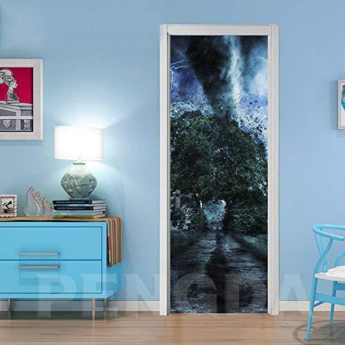 Tornado behang, 77 x 200 cm, vinyl, zelfklevend, waterbestendig, 3D, voor woonkamer, kantoor, keuken, fotobehang 95x215cm