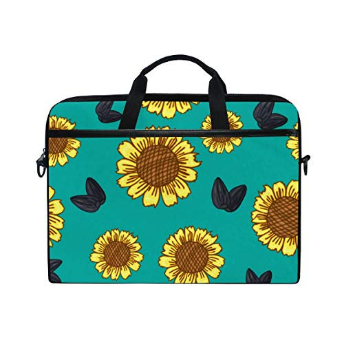 FOURFOOL 15-15.6 inch Laptop Bag,Hand Drawn Abstract Seamless Pattern Sunflowers,New Canvas Print Pattern Briefcase Laptop Shoulder Messenger Handbag Case Sleeve