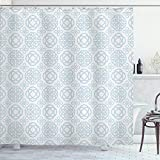 Ambesonne Celtic Shower Curtain, Retro Tribal Circle Knots Eternity Forms Pattern Boho Ireland Irish Floral Artwork, Cloth Fabric Bathroom Decor Set with Hooks, 75' Long, Pale Blue