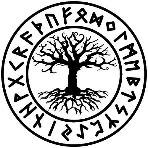 Samunshi® Wandtattoo Yggdrasil mit Runen 1 Wandaufkleber Wandsticker Aufkleber in 8 Größen und 19 Farben (50x50cm schwarz)