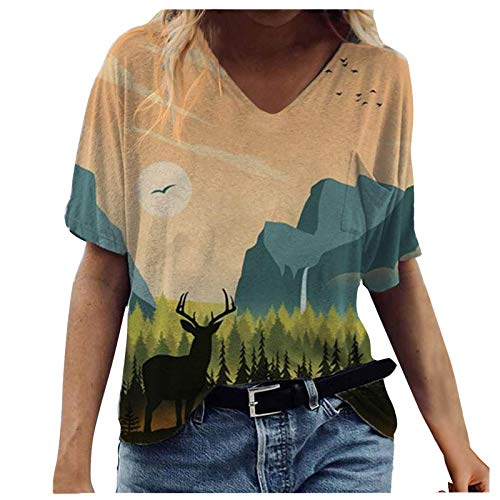 Camiseta Corta Mujer Verano Barato Camiseta de Manga Corta con Cuello en V de Pintura al óleo para Mujer Camiseta Informal Tops Blusa T-Shirt