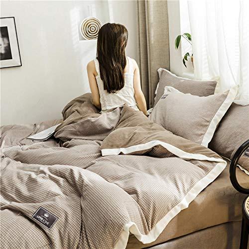 TAYIBO Mädchen Mikrofaser Bettbezug Deckenbezug,Vierteiliges Bettwäscheset, doppelseitiges Design, A-Gesichtsgitter, B Baumwolle-Braun_200 * 230cm + 245 * 250cm
