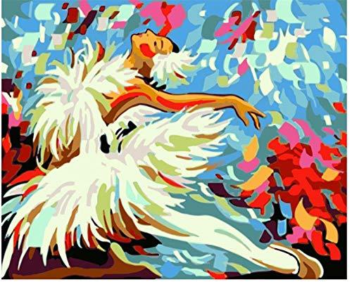 MONIYAOFAFA Digitaal schilderij digitaal schilderwerk DIY Springen witte ballerina meisjes figuur canvas bruiloft decoratie kunst foto geschenk 40x50