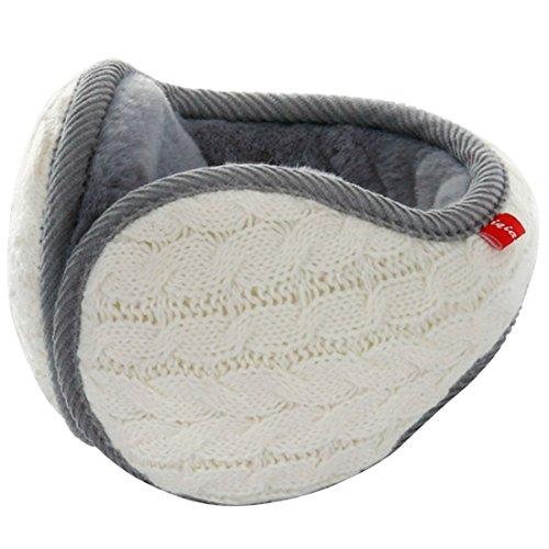 LerBen® Winter-Ohrenschützer, Wollgarn, Zopfstrick, verstellbar, Ohrenschützer Gr. One size, weiß