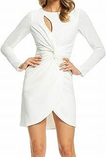 فستان المرأة كوبي كم طويل تمتد كريب تويست فستان قصير