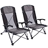 CAMPMOON Beach Chair Folding Lightweight, Portable Beach Chairs High Back for Adults, Sand Chairs for The Beach Outdoor Concerts Sports Events, Blue/Black (Black-New Version x 2)