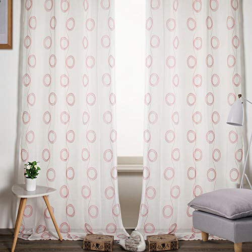 Viste tu hogar Pack 2 Cortina Decorativa Semi Translúcida con Bordado, Moderna y Elegante, para Salón o Habitación, 2 Piezas, 150X260 CM, Diseño de Círculos, Color Rojo