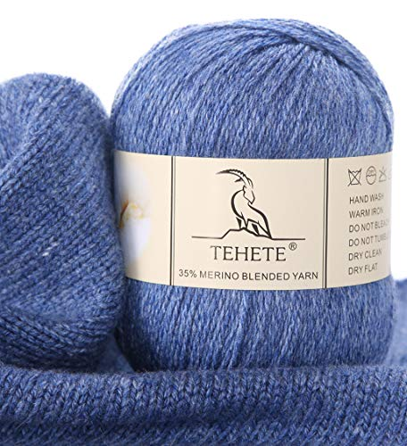TEHETE Merino Wool Yarn for Knitting 3-Ply Soft Crochet Yarn