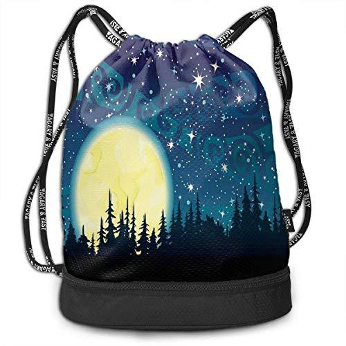 PmseK Turnbeutel,Kordelzug Tasche Drawstring Bag, Cartoon Style Heavenly Body Silhouettes Blue Toned Illustration Festive Pattern,Tote Sack Large Storage Sackpack for Gym Travel Hiking