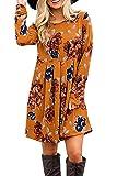Landove Donna Vestito Stampa Foreale Bohemien Hippie Chic Abito Stile Impero Corto Moda Vestiti Manica Lunga 44 Giallo