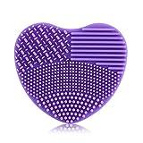 Linda Silicona Guante de Lavado en forma de corazón Cepillo de limpieza, 7 colors Limpieza de pinceles de maquillaje cosmético Guante limpias