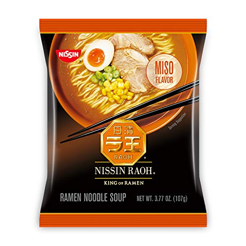 Nissin RAOH, Miso Flavor, Authentic Japanese-Style Ramen, 3.77oz. (6-Count)