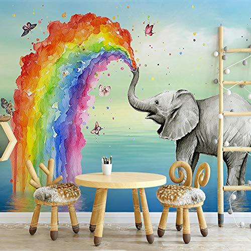 Cyalla Individuelle Fototapete 3D Niedlichen Elefanten Aquarell Kinderzimmer Hintergrund Wandmalerei Wandbild Tapete 3D-120X100CM