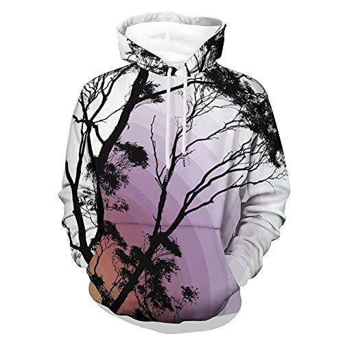 QWERQ Sudadera con capucha para hombre con diseño de árboles, varias tallas