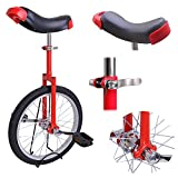 AW Red 18' Inch Wheel Unicycle Leakproof Butyl Tire Wheel Cycling Outdoor Sports Fitness Exercise Health