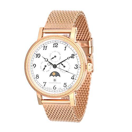 Constantin Durmont Unisex Erwachsene Multi Zifferblatt Quarz Uhr mit Edelstahl Armband CD-SANJ-QZ-RGM2-RGRG-WH