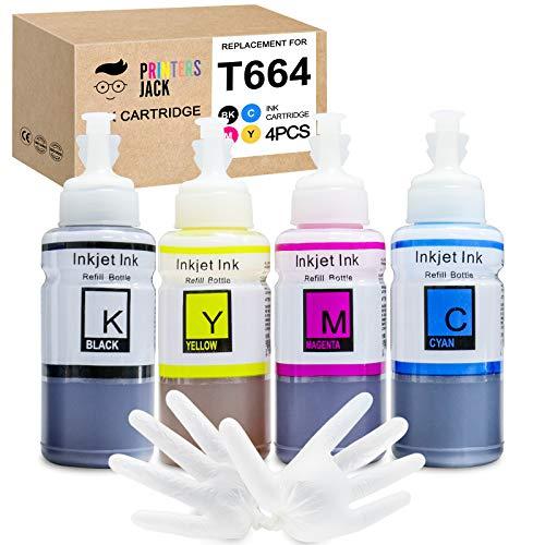 PJ Compatible Epson T664 Refill Ink Bottle kit for Expression ET-2650, ET-2500, ET-2550, ET-2600 & Workforce ET-16500, ET-4500, ET-4550 Printers