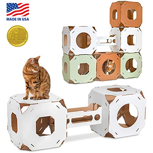 Cat Amazing Stacks! - Modern Cat Condo & Modular Cat Tree - House & Tunnel Cubes for Cats - Made in USA, Snow White