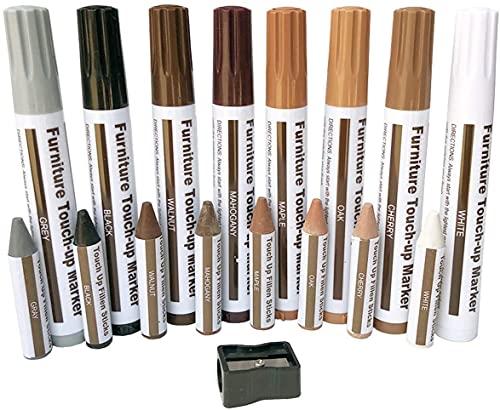 Möbelreparaturset Holzmarker Wachsstäbchen mit Spitzer-Kit für Flecken, Kratzer, Holzfußböden, Tische, Schreibtische, Schreiner, Bettpfosten, Ausbesserungen und Abdeckungen (17)