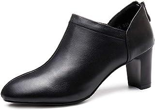 [イグル] ラウンドトゥ バックジッパー アンクルブーツ レディース ショートブーツ ブーティー ハイヒール 太めヒール 通気 軽量 オフィス カジュアル 滑り止め 歩きやすい 疲れない 細見え 柔らかい 通勤 通学 革靴 ワークブーツ