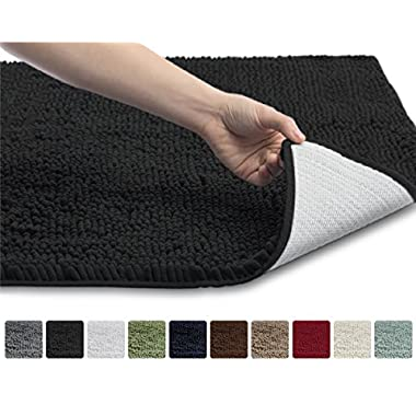 The Original GORILLA GRIP Shaggy Chenille Bathroom Rug Mat, 3 Sizes and 10 Colors, Extra Soft and Absorbent, Machine-Washable, Perfect for Bath, Tub, and Shower (Black, 30  x 20 )