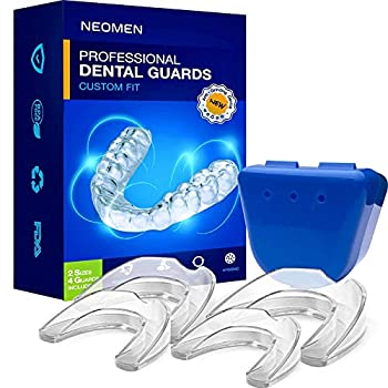 Neomen Mouth Guards for Teeth Grinding 2 Sizes Pack of 4 Custom Fit Professional Dental Guard New Upgraded Teeth Grinding Guard Stops Bruxism