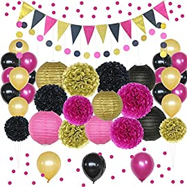 "Hot Pink, Gold, and Black Party Decorations, 50 pc Party Supply Set, Paper Pom Pom Flowers, Paper Lanterns, Polka Dot… 12 50 Pcs DECORATING SET FOR PARTIES: Consisting of 9 pompoms, 6 paper lanterns, 21 inflatable balloons, 12 pcs triangle garland, 1 polka dot garland & 1 bag of 1"" pink confetti, this party decorations kit includes a large assortment POPULAR 1ST BIRTHDAY PARTY KIT: Shamrise party decorating supplies are the preferred party decor in pink & gold. Use the pink & gold decorations as birthday party decorations for girls turning 1, 2, 18, 21, 30, 40 or 50! PRETTY PICK FOR BRIDAL EVENTS: Though commonly used as 1st birthday party decorations, these pink and gold party supplies can also be used to decorate bridal showers, wedding reception, engagement soirees & other events."