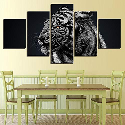 RMVNIE Impresión En Lienzo Salón Dormitorio Carteles Artísticos Tigre Blanco Animal Pinturas Al Óleo Clásicas Arte Mural Cuadro En...