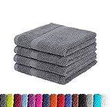4er Pack zum Sparpreis Frottier Handtuch in vielen Farben 100% Baumwolle 500 g/m², 4X Handtücher 50x100 cm Anthrazit