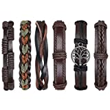 flintronic Leather Bracelet, 6Pcs Adjustable Fashion Punk Braided Men & Women Rope Bracelet...