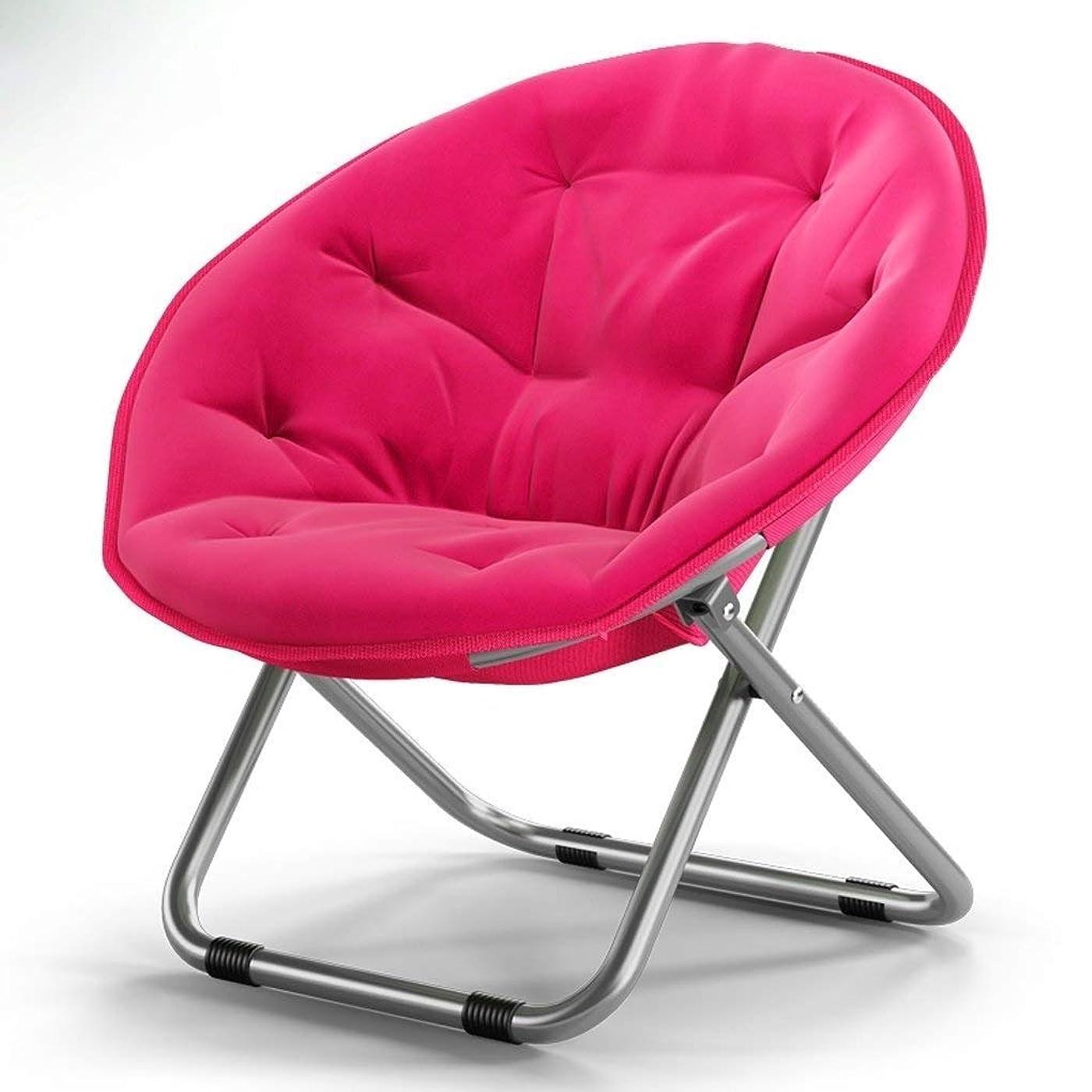 くるくるペルセウスに付けるRANRANJJ 金属フレームが付いているソーサーの椅子庭の日曜日の椅子のあと振れ止めが付いている円形の折りたたみ椅子広く安定した設計鉄骨フレームの積載量150kg (Color : Pink)