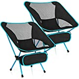 WoneNice Lightweight Folding Camping Chair, Outdoor Portable Backpacking Camping Beach Chair with Carry Bag, 2 Pack (Light Blue)