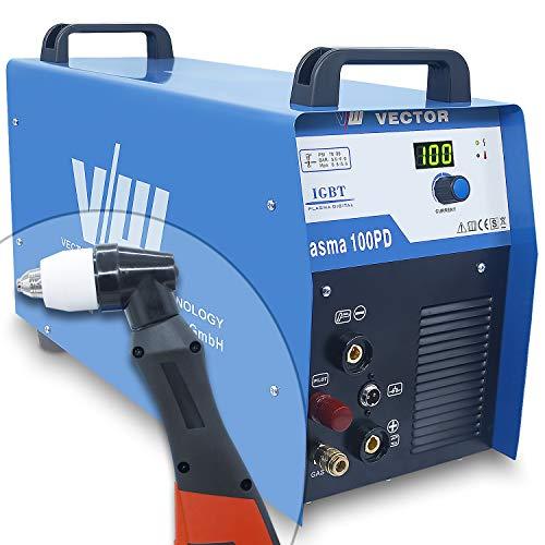 Plasmaschneidgerät Plasmaschneider Plasma Cutter Cut mit 100 Ampere | Überhitzungsschutz, Kontaktzündung, digit. Anzeigen Display & Startdüsen Set - Schneidet bis 40 mm Stahl - von Vector Welding
