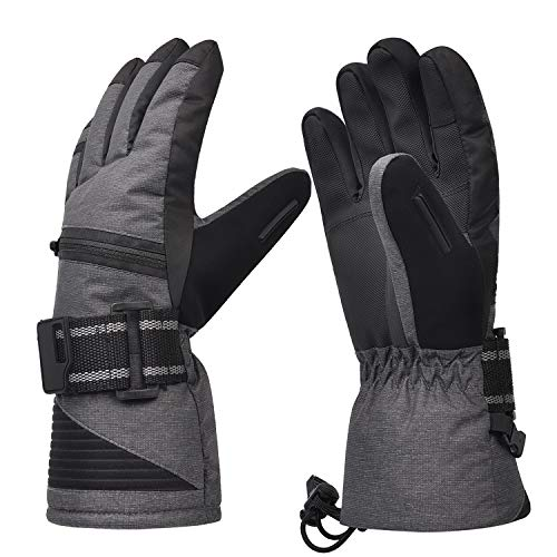 Waterproof Ski Gloves, Winter Warm Cozy 3M Thinsulate Snow Gloves for Skiing, Snowboarding, Shoveling, Cycling, Outdoor Sports, Gifts for Men,Women, Medium