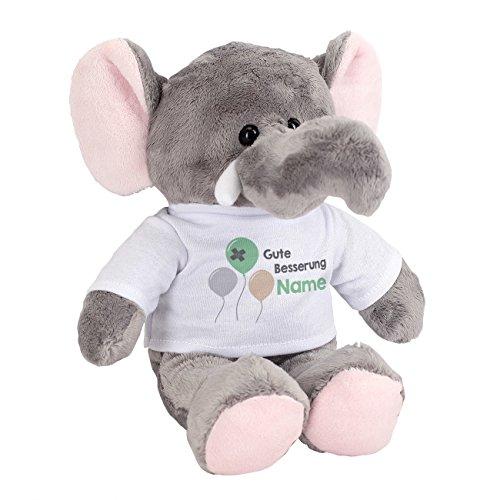Striefchen® Kuscheltier Elefant mit Namen auf dem bedrucktem T-Shirt Motiv Gute Besserung