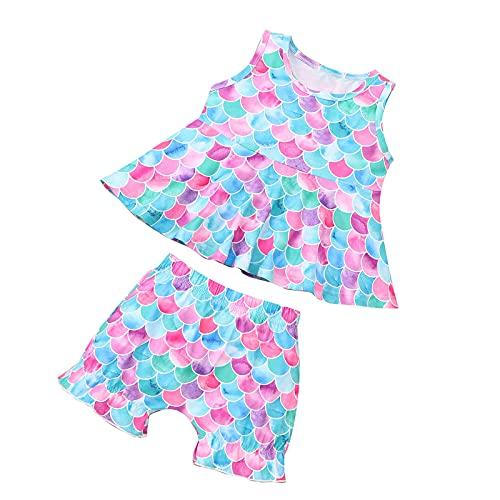 SH-RuiDu Bebé Niña Verano de Escala de Peces Trajes sin Mangas Pantalones Cortos de Camisa