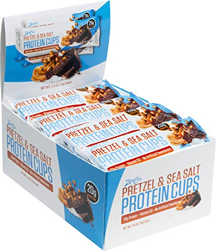 ZenEvo Pretzel & Sea Salt Chocolate Peanut Butter Protein Cups – Balanced Macros – No Sugar Spike – High Protein – Gluten Free Meal Replacement, 12 Count Box