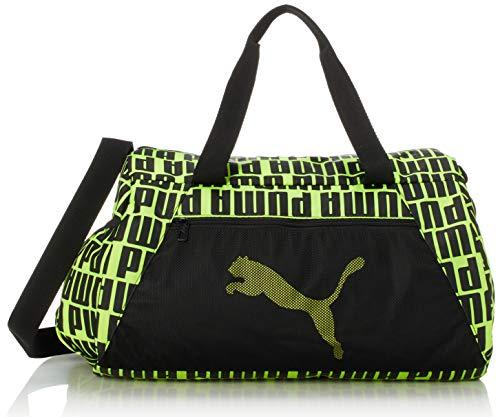 PUMA At ESS Barrel Bag Bolsa Deporte, Mujer, Black/Fizzy Yellow, OSFA