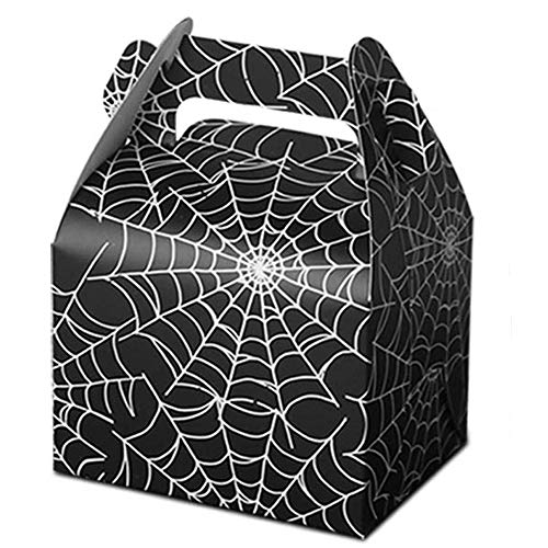 50pcs Halloween Favor Candy Boxes, Paper Spider Web Black Gift Bags Halloween Treat Bag for Halloween Party Decorations Kids Spider Birthday Party Supplies