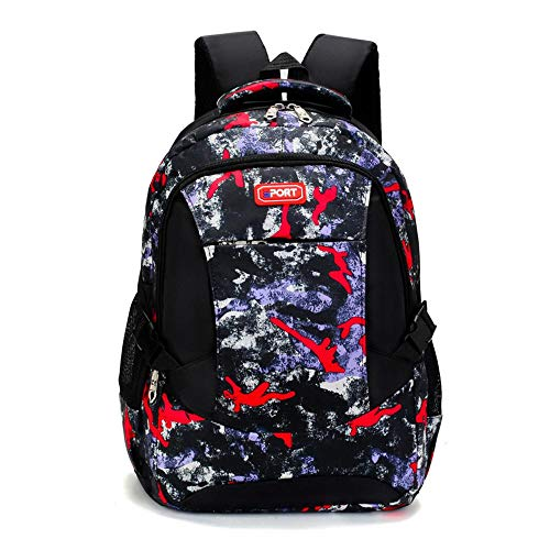 pinsheng Sac À Dos pour Hommes Voyage Loisirs Business Computer Korean Fashion Trend High School Student Backpack Travel Backpack Red