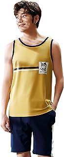 ルームウェアセット パジャマ タンクトップ メンズ 無地 プリント 部屋着 柔らかい 便利服 肌に優しい 爽やか 吸汗速乾 上下セット