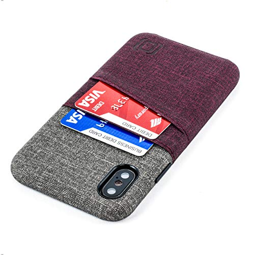 Dockem iPhone X/XS Wallet Case: Built-in Metal Plate for Magnetic Mounting & 2 Credit Card Holder Slots (5.8 Luxe M2 Synthetic Leather, Maroon & Grey)