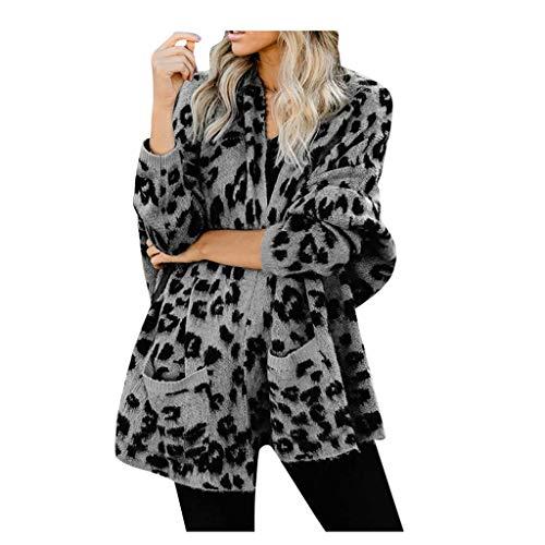 ReooLy Mujer Leopardo Frente Abierto Fuzzy Cardigan Suéteres Suéter de Punto Informal de Manga Larga(Gris,Free)